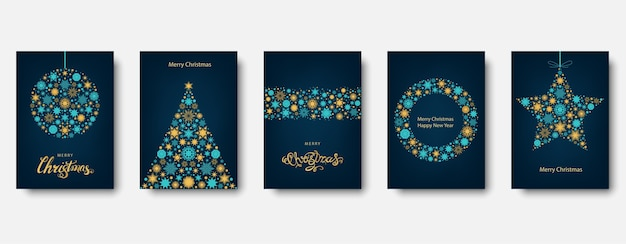 Christmas tree, ball with gold and  blue  holiday card.