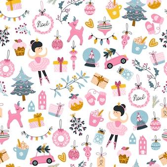 크리스마스 트리, 발레리 나, 선물 상자 완벽 한 패턴. 휴일은 유치한 손으로 그린 스칸디나비아 스타일을 자세히 설명합니다. 여성스러운 프린트에 딱 맞는 한정 핑크 파스텔 팔레트.