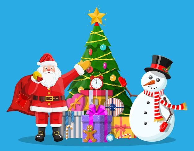 クリスマスツリーボールギフトボックスサンタと雪だるま