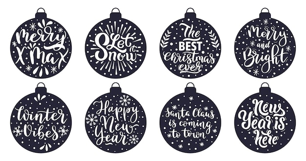 Christmas tree balls lettering. merry christmas and happy new year winter holidays greeting quotes vector illustration set. xmas decorations lettering