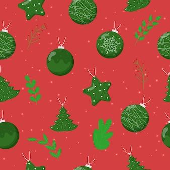 Christmas tree balls seamless pattern. flat vector illustration