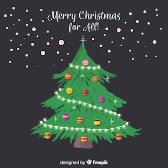 Рождественская елка доске фоне