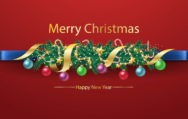 Christmas tree border background on red background with decorations and fir branches.