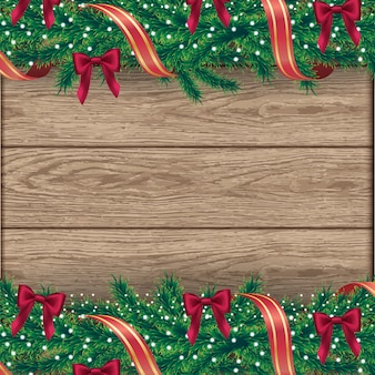 Christmas tree border background on wooden tiles with decorations and fir branches.