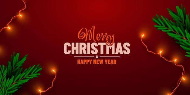 빨간색 배경에 축제 갈 랜드와 크리스마스 트리 테두리