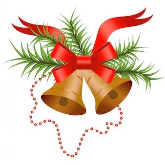 鐘と赤の弓で飾られたクリスマスツリーブランチ。新年やクリスマスの要素。白のイラスト。