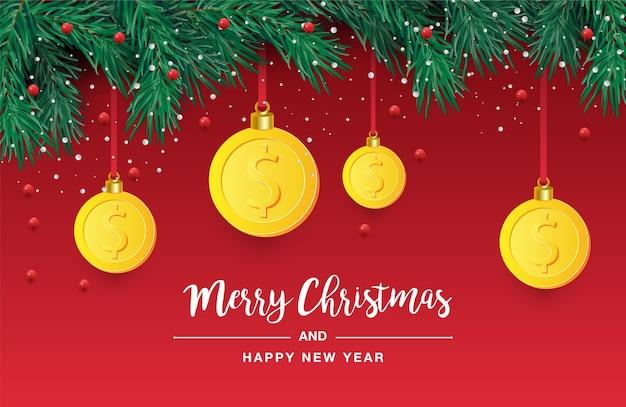 Christmas tree branch with decorative gold dollar symbol.  illustration
