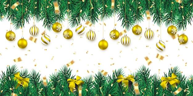 クリスマスツリーの枝とクリスマスゴールデンボール
