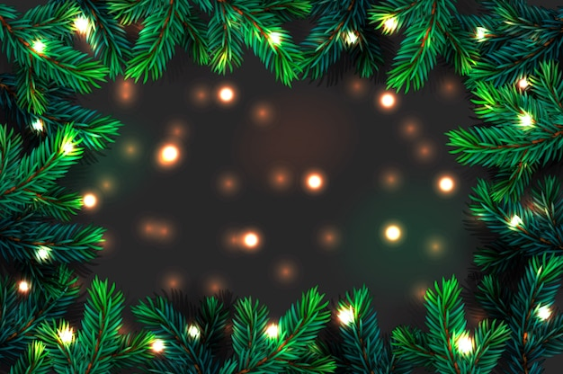 Christmas tree branches background. festive xmas border of green branch of pine with sparkling lights garland, illustration.