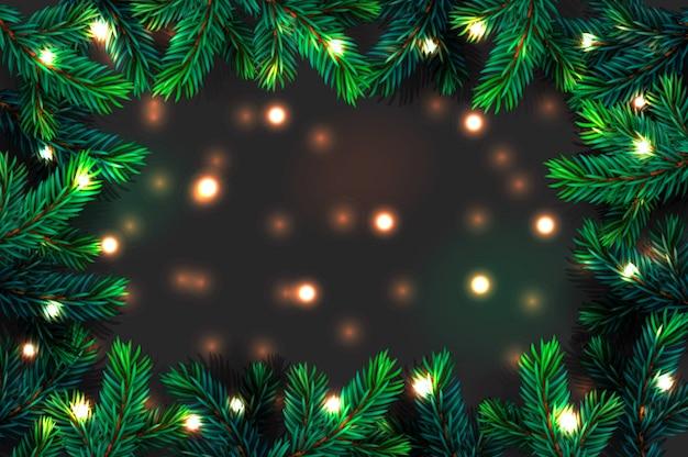 Предпосылка ветвей рождественской елки. праздничная рождественская граница зеленой ветки сосны с гирляндой сверкающих огней, иллюстрация.
