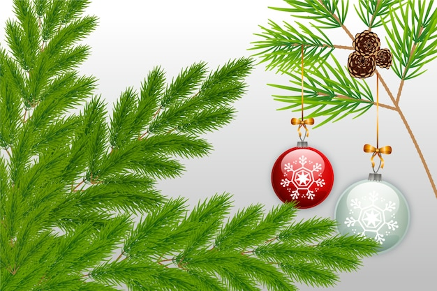 Christmas tree branches background in flat design