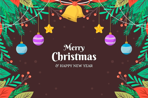 Christmas tree branches background flat design