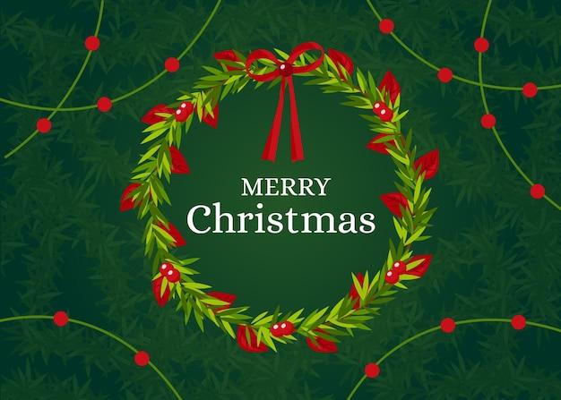 Рождественская елка ветви фон в плоском дизайне