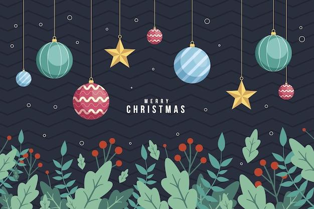 평면 디자인에 크리스마스 트리 분기 배경