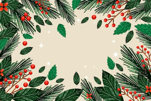 Christmas tree branches background watercolor