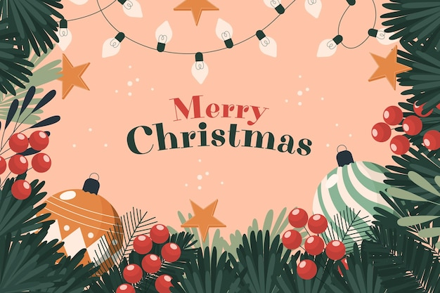 Christmas tree branches background with greeting