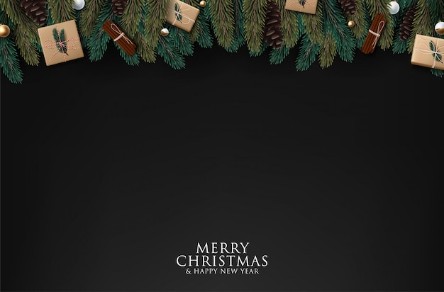 Christmas tree branches on black background,