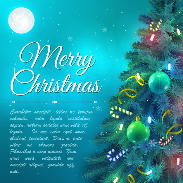 Christmas tree branches decorated with baubles and candy canes on background with moon flat vector illustration