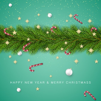 Ветви елки, украшенные золотыми звездами и снежинками, леденцами и белыми елочными шарами. элемент украшения праздника с пожеланиями.