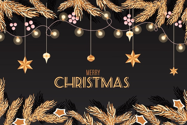Christmas tree branches flat background