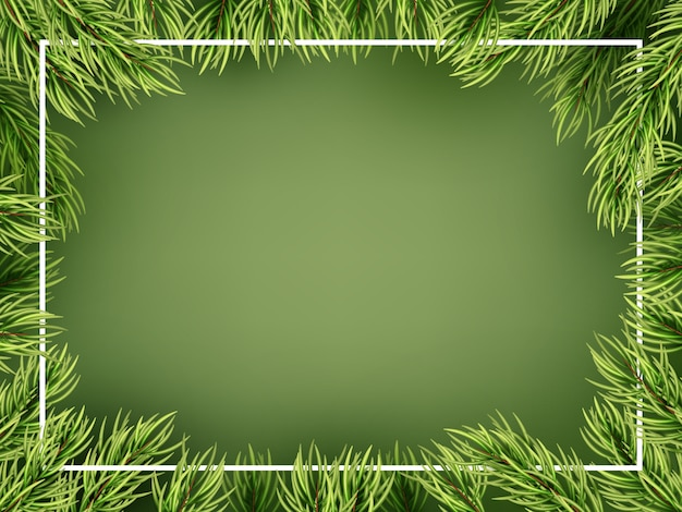 Christmas tree branches frame template.