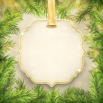 クリスマスツリーの枝フレーム、ラベル、タグフレーム装飾