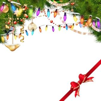 Рождественская елка ветви на белом.