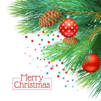 Christmas tree branches realistic background with cones and tree decorations vector illustration