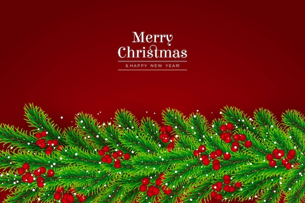 Christmas tree branches realistic background