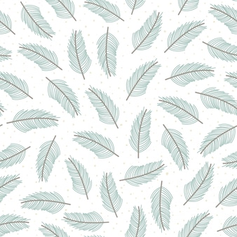 Christmas tree branches seamless pattern.