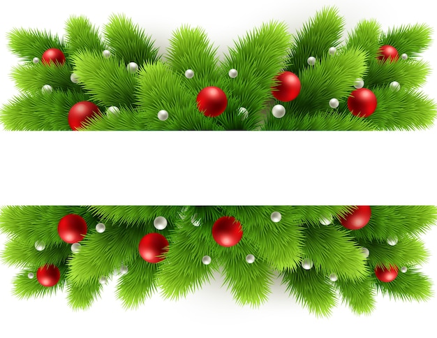 Christmas tree branches and space for text. realistic fir-tree border, frame isolated on