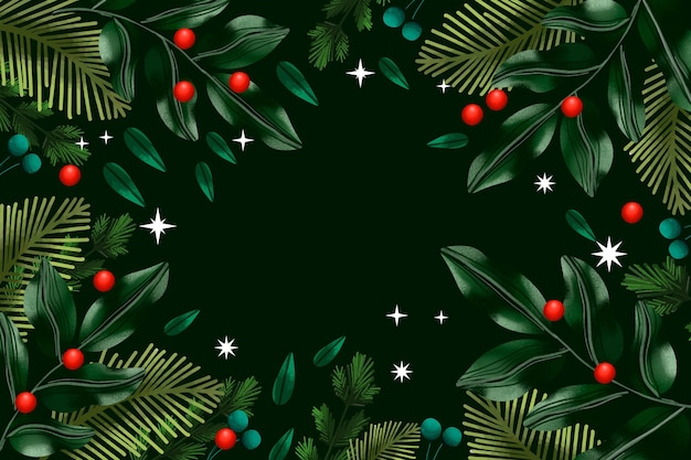 Christmas tree branches watercolor background