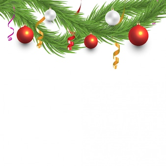 Christmas tree branches with balls and serpentine ribbons frame background
