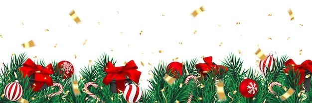 紙吹雪とクリスマスプレゼントのクリスマスツリーの枝