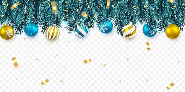 ヒイラギの果実とクリスマスボールとクリスマスツリーの枝