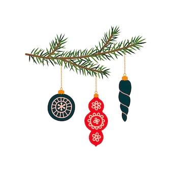 新年のおもちゃでクリスマスツリーの枝。