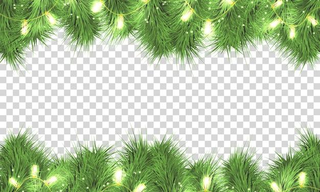 きらめきライトでクリスマスツリーの枝。透明な背景に分離された休日の花輪。