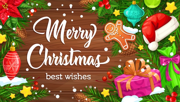 Елочные ветви с рождественскими подарками и шляпой санты