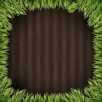 Christmas tree branches on wooden background.