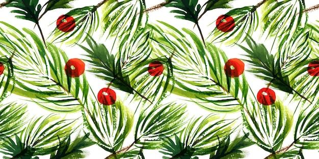 크리스마스 나무 가지와 겨울 열매 원활한 패턴