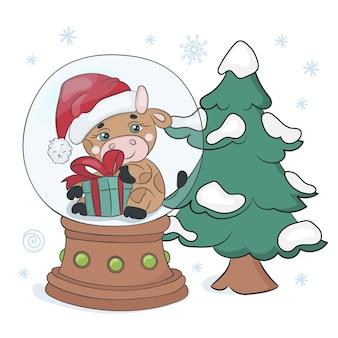 Christmas treebullメリークリスマス新年冬漫画ホリデークリップアートベクトルイラスト