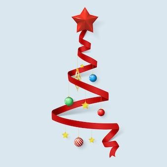 赤いリボンによるクリスマスツリー。メリークリスマスの要素