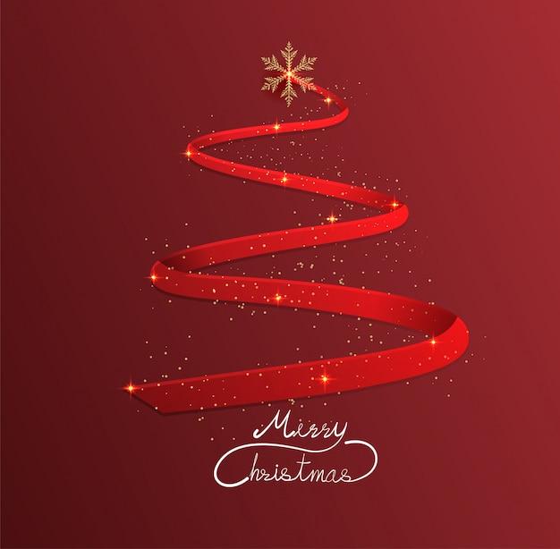 赤い背景、クリスマス、幸せな新年にリボンでクリスマスツリー。