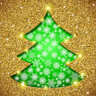 Christmas tree card with glitter