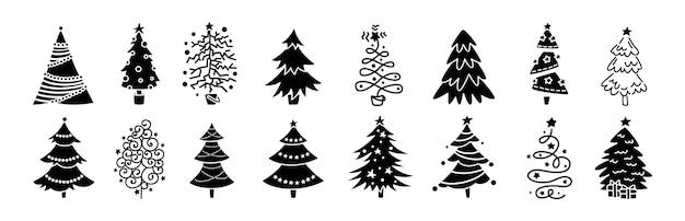 クリスマスツリー漫画黒グリフセット。手描きのモノクロクリスマスツリーコレクション。新年の伝統的なデザインの装飾品、星や花輪