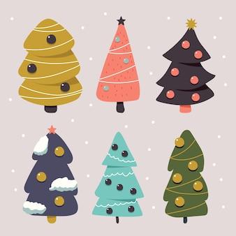 白い背景で隔離のクリスマスツリー漫画シンプルなセット