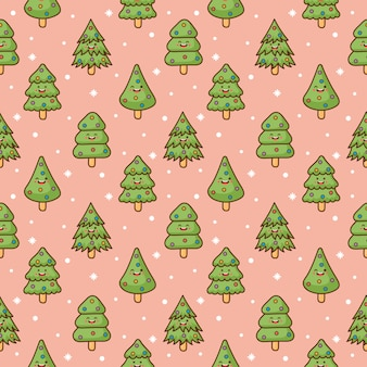 Christmas tree characters seamless pattern on pink background