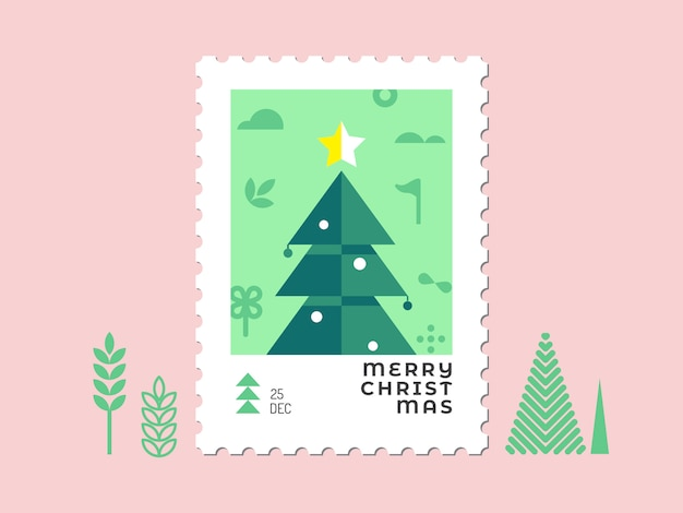 Christmas tree - christmas stamp flat design for greeting card and multi purpose