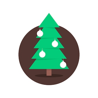 Christmas tree in circle with xmas balls. concept of christmas tree silhouette, spruce, family event, nativity. isolated on white background. flat style trend modern logo design vector illustration