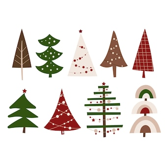 Christmas tree clipart set. vector illustration.